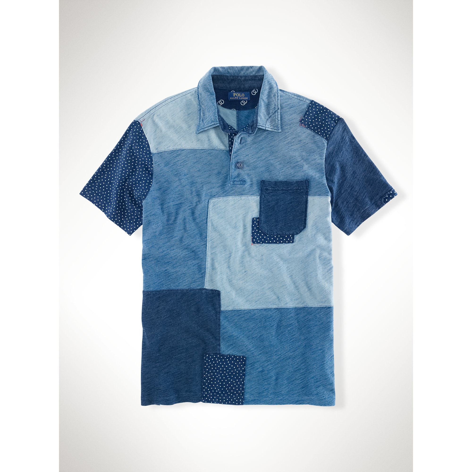 bbbf1293 ... clearance lyst polo ralph lauren indigo patchwork polo shirt in blue  for men 4e979 57822