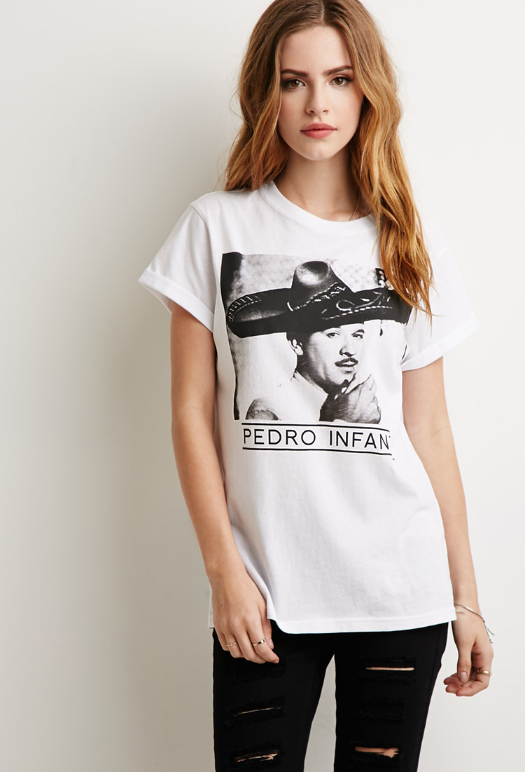 a9506f679 Forever 21 Pedro Infante Graphic Tee in White - Lyst