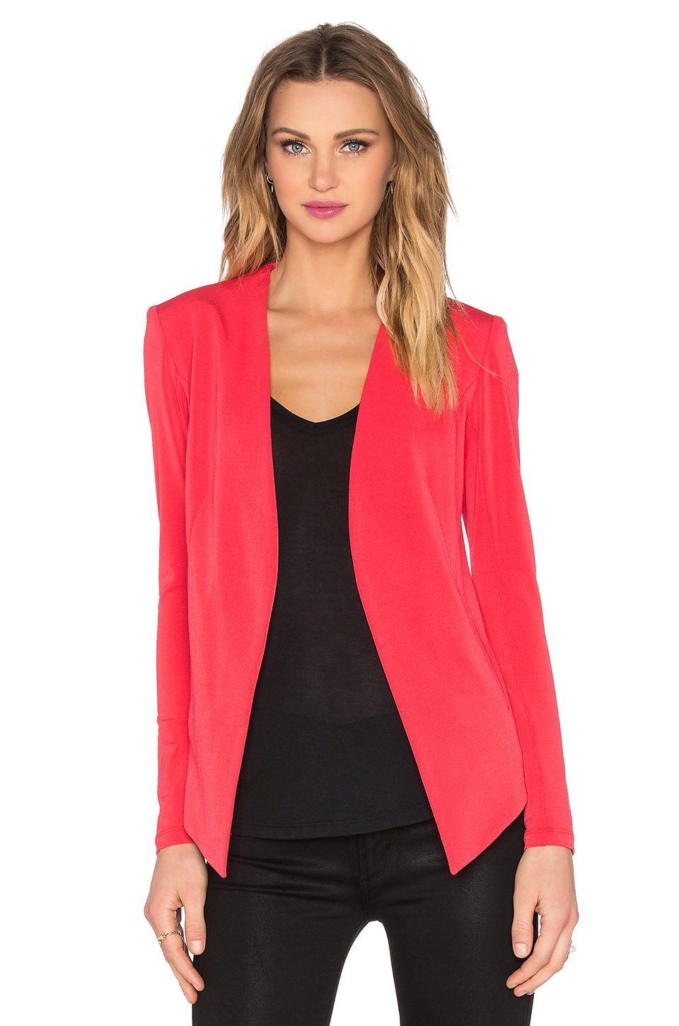 Bcbgeneration Drape Front Jacket In Red Lyst