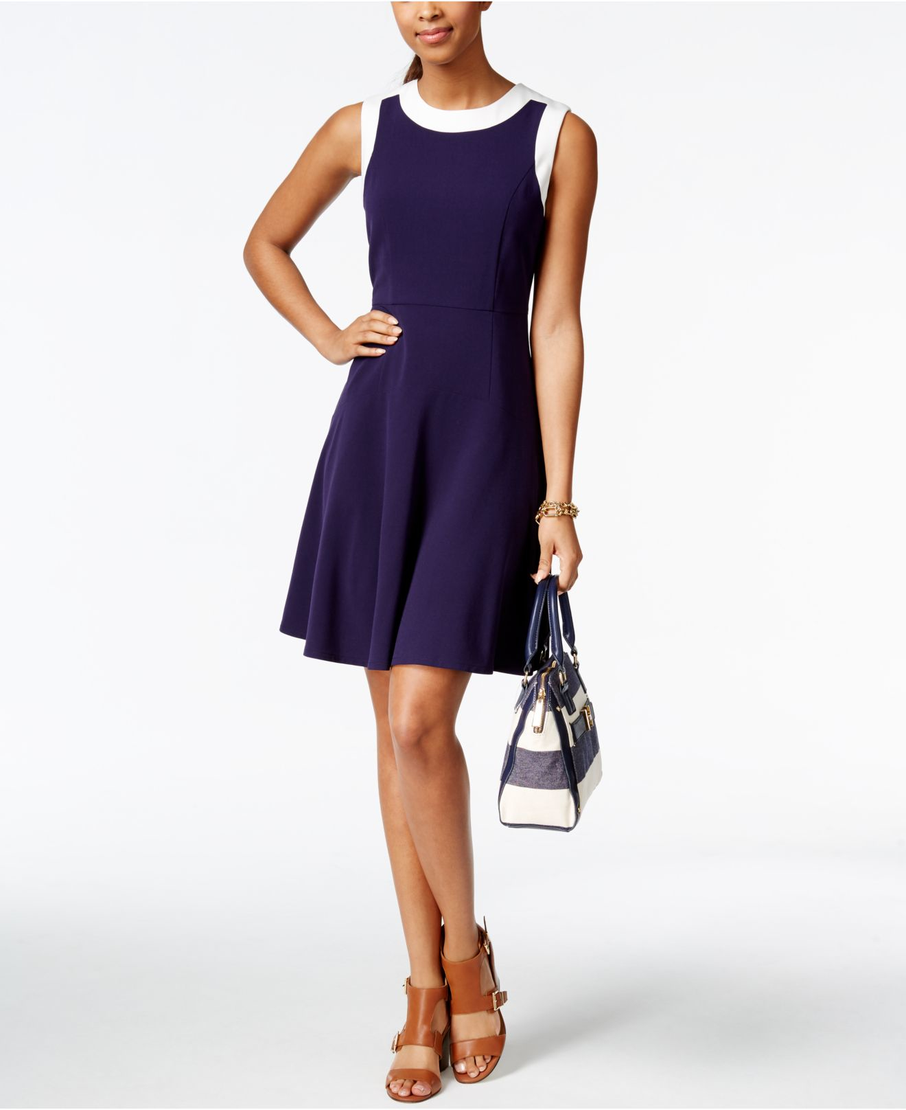Macys Navy Blue Dresses: Tommy Hilfiger Colorblocked Fit & Flare Dress In Blue