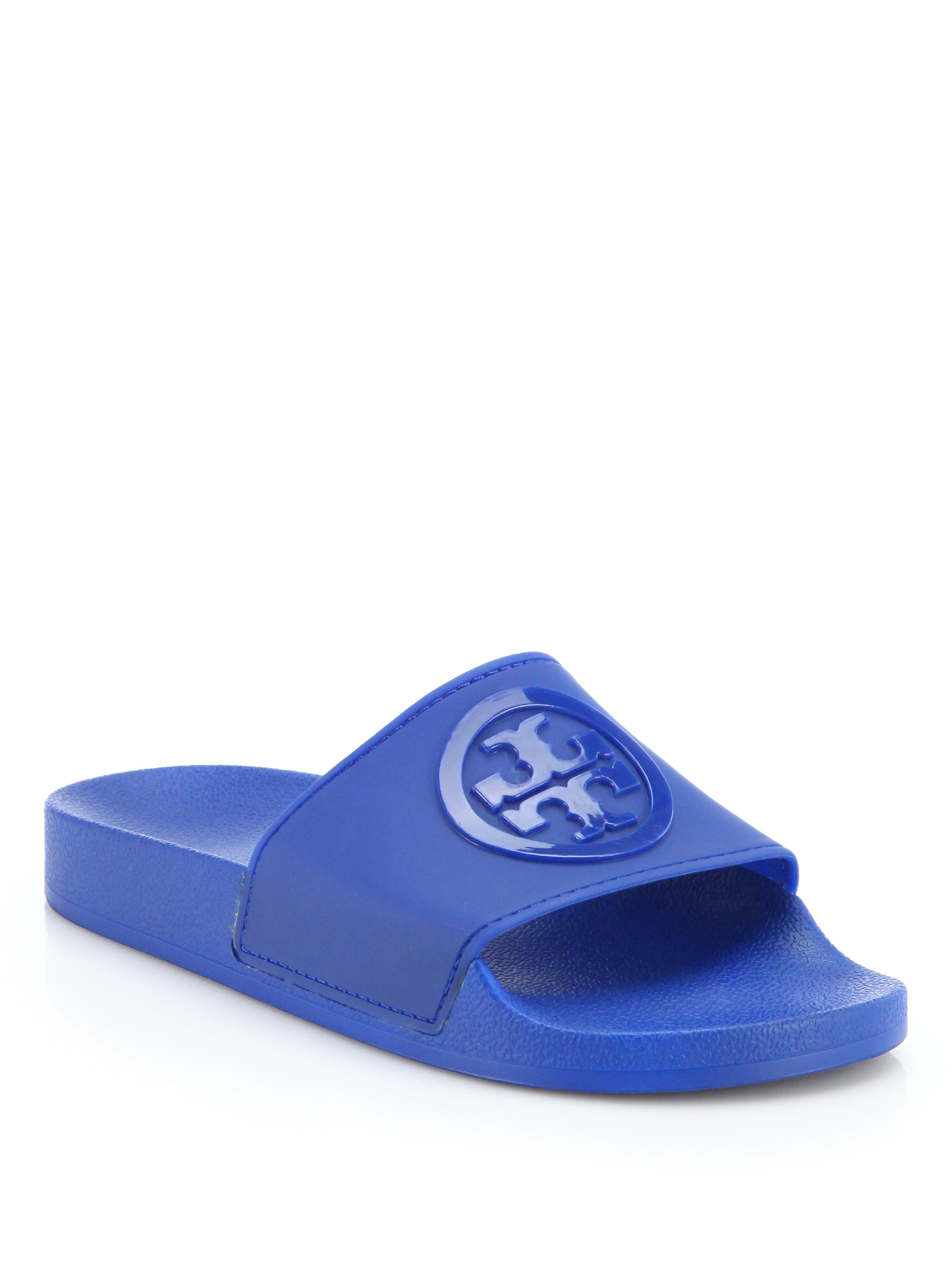 22c99a598 Lyst - Tory Burch Jelly Anatomic Flat Slides in Blue