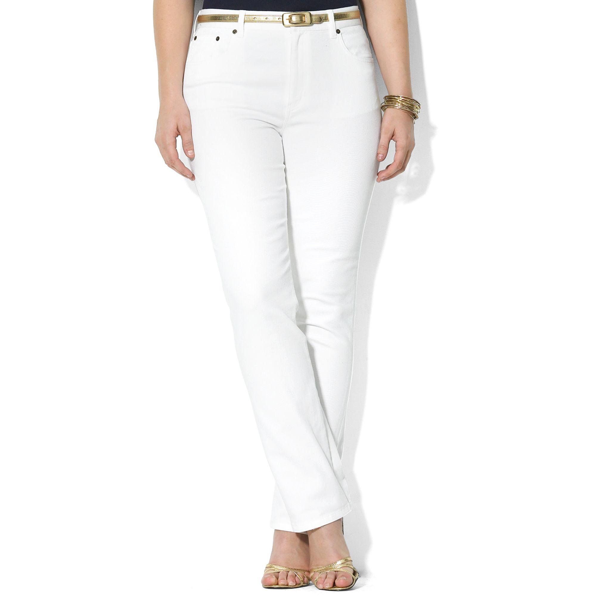 Plus Size White Bootcut Jeans - Jeans Am