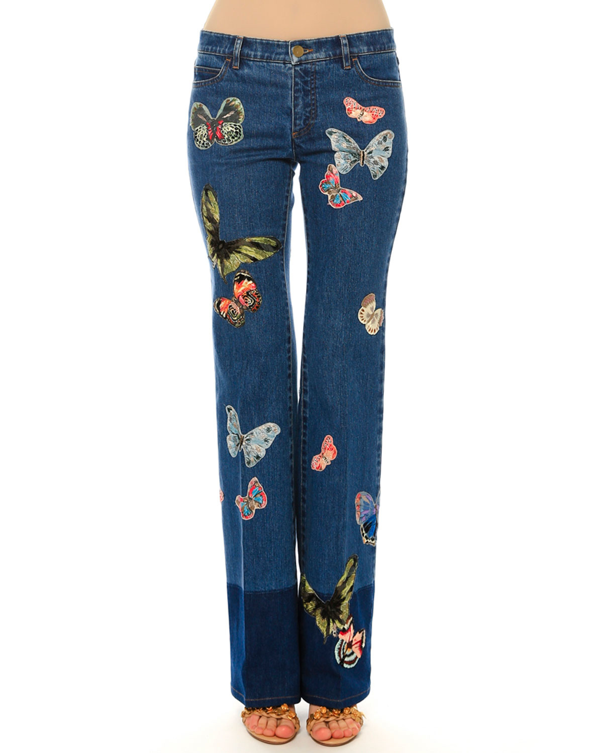 Lyst valentino mid rise butterfly embroidered jeans in blue