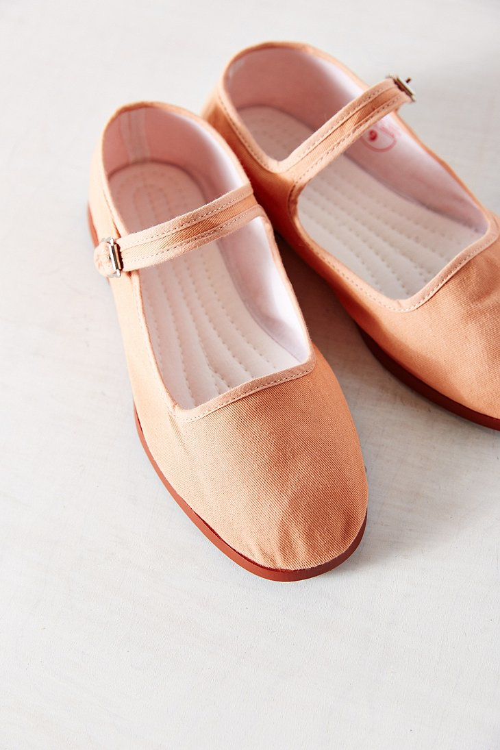 Lyst - Urban Outfitters Cotton Mary Jane Flat in Orange