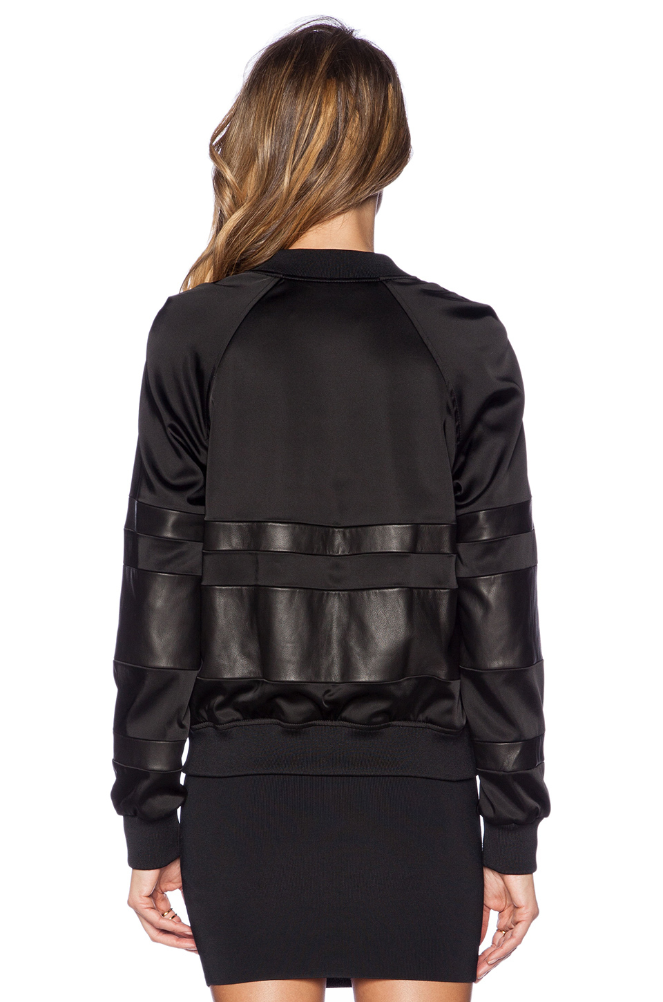 17ddca0cb Lyst - T By Alexander Wang Stretch Satin Bomber Jacket in Black