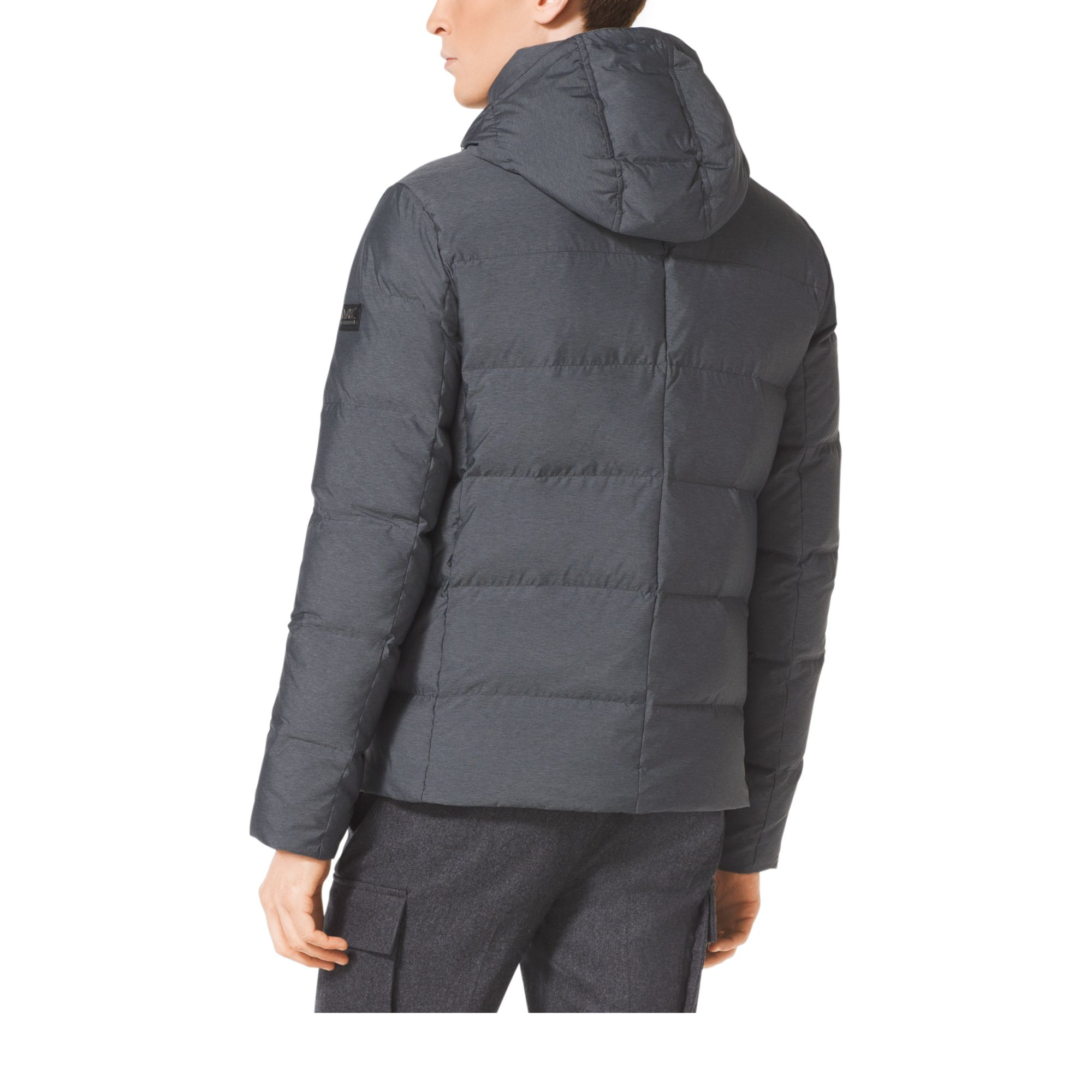 michael kors nylon down jacket in gray for men lyst. Black Bedroom Furniture Sets. Home Design Ideas