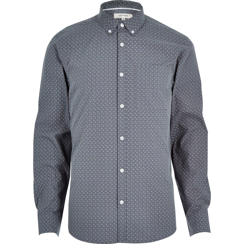 Lyst river island grey micro print long sleeve slim for Grey long sleeve shirts