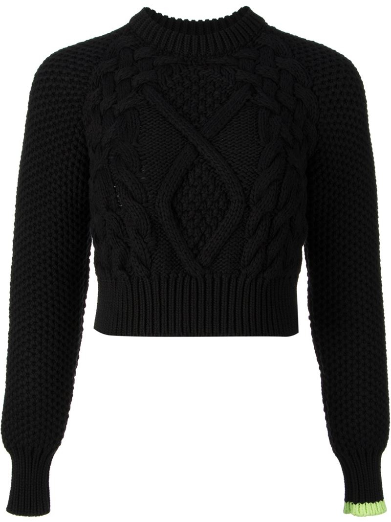 Mm6 by maison martin margiela Cropped Cable Knit Sweater in Black ...