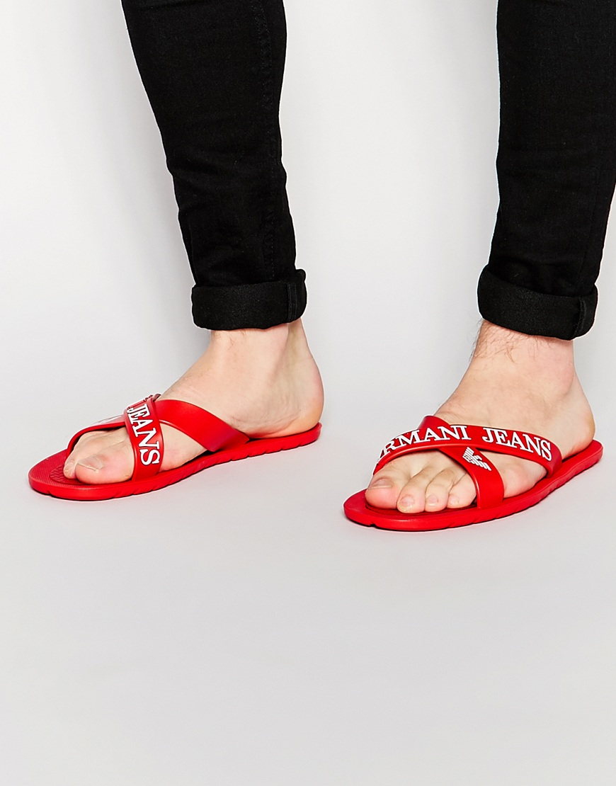 f7fe62c43 Lyst - Armani Jeans Rmani Jeans Logo Cross Over Flip Flops in Red ...