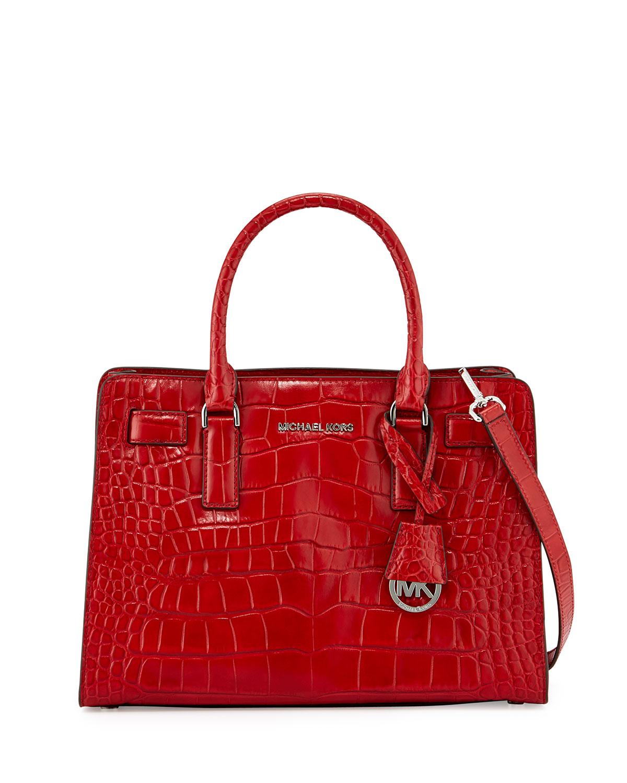 f0d47f8efd41 3ec65 d3106  canada lyst michael michael kors dillon croc embossed satchel  bag in red f6b14 91651