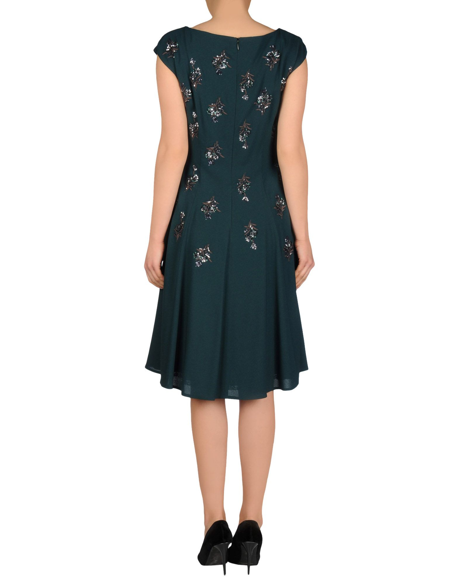 Dark Green Knee Length Dress