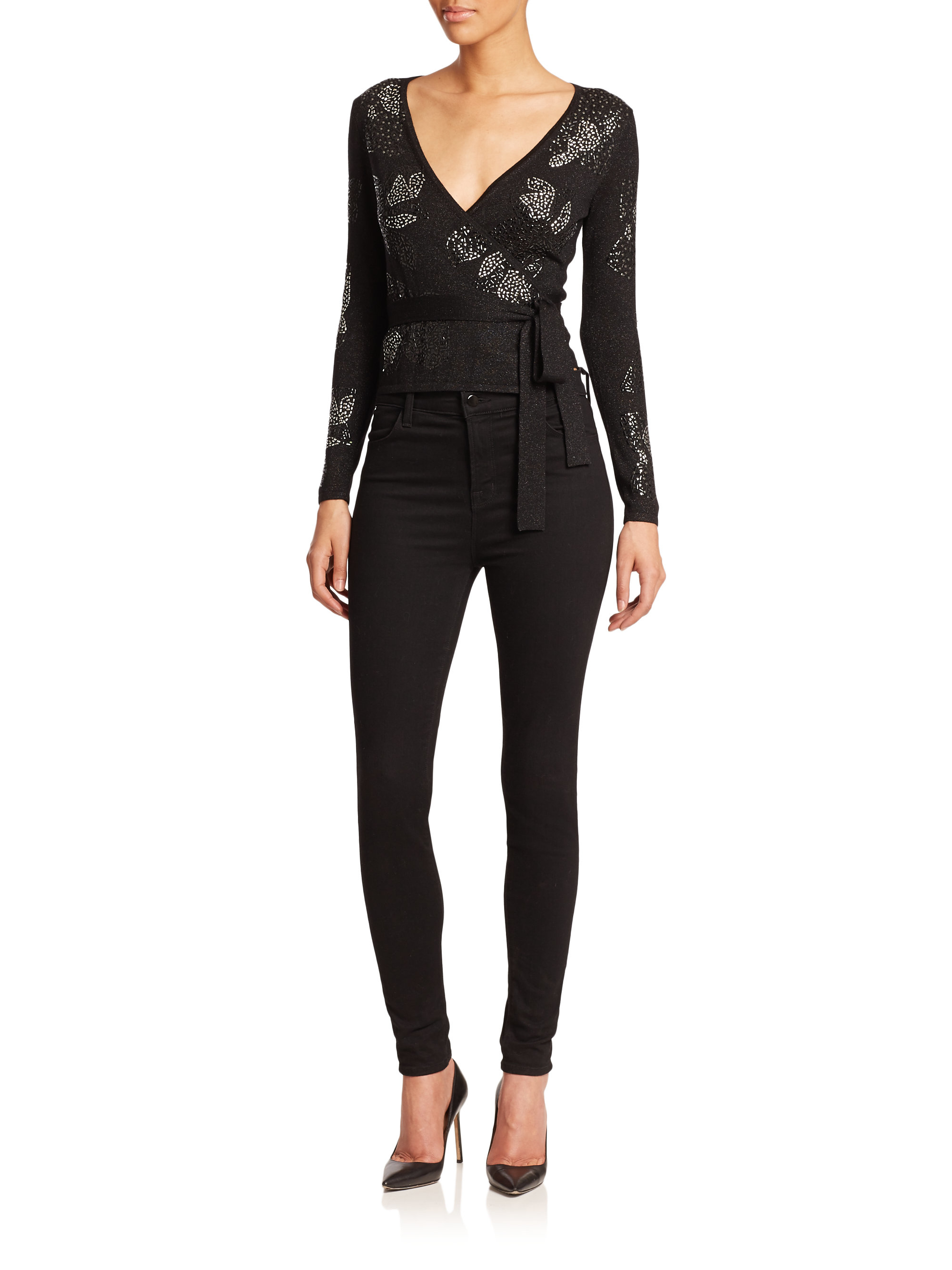 Diane von furstenberg Embellished Ballerina Wrap Sweater in Black ...