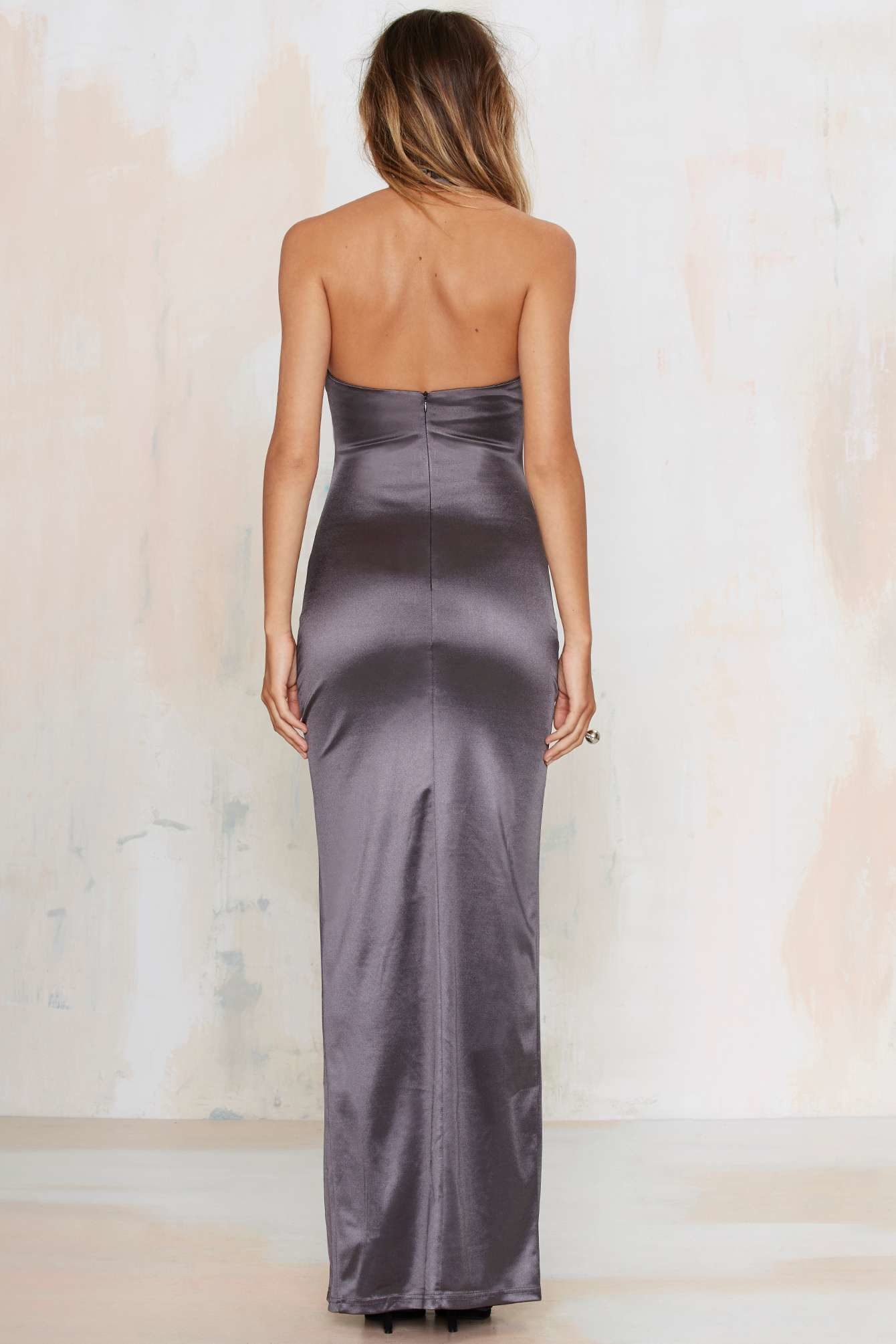 Lyst Nasty Gal Sleekin Out Satin Maxi Dress In Purple