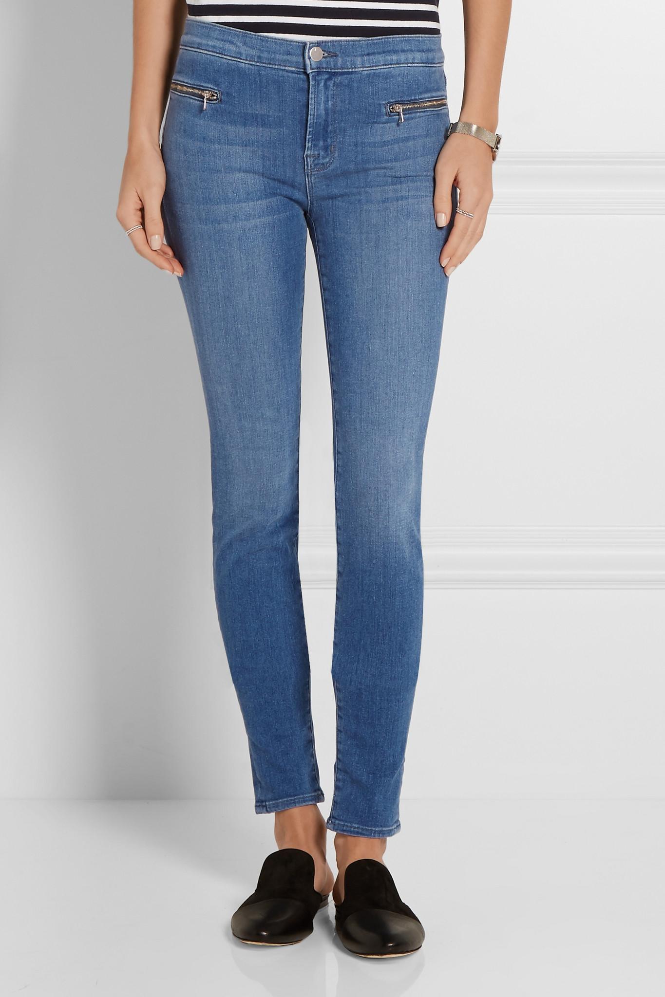 j brand emma super skinny mid rise jeans in blue lyst. Black Bedroom Furniture Sets. Home Design Ideas
