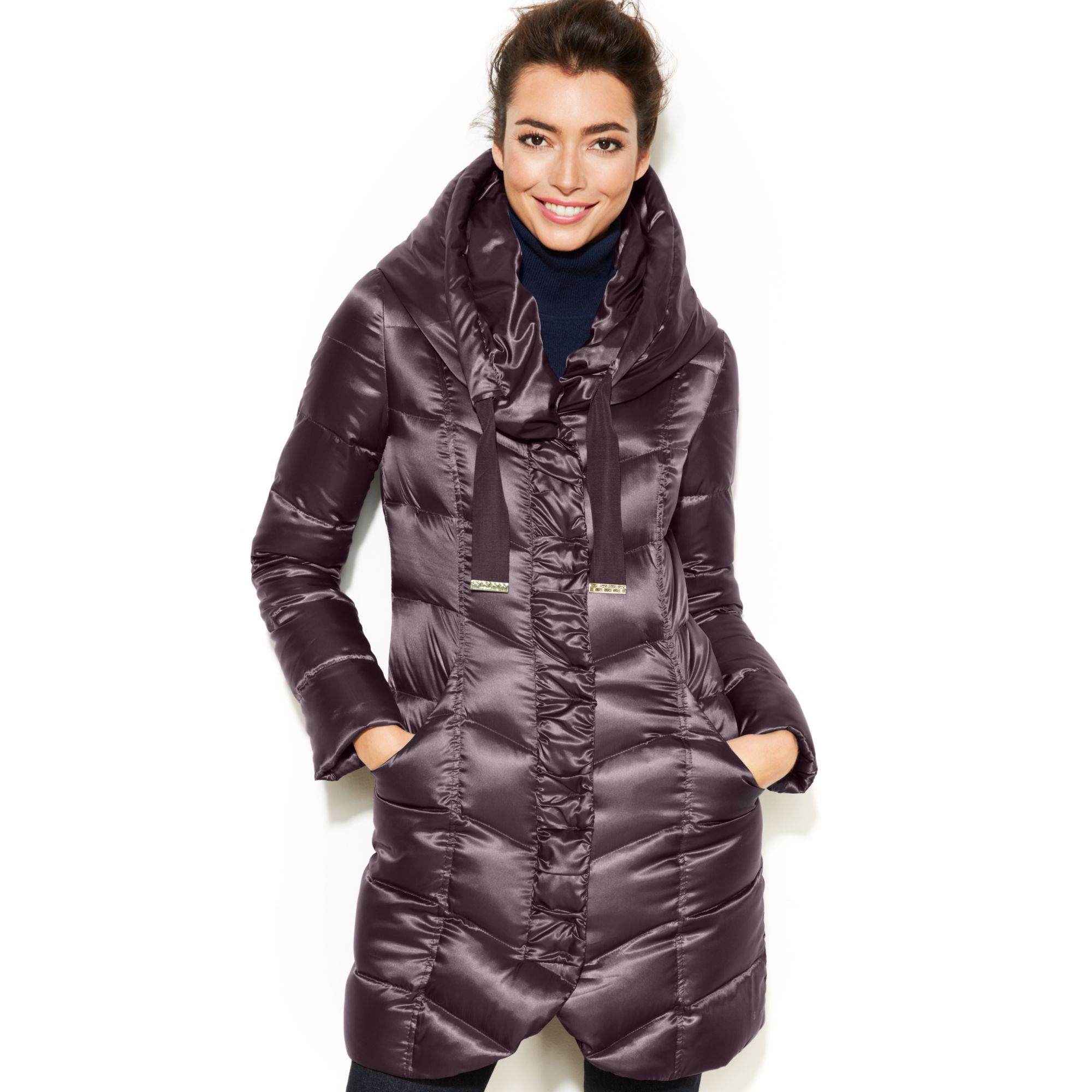 Tahari Hooded Pillow Collar Quilted Packable Puffer Coat