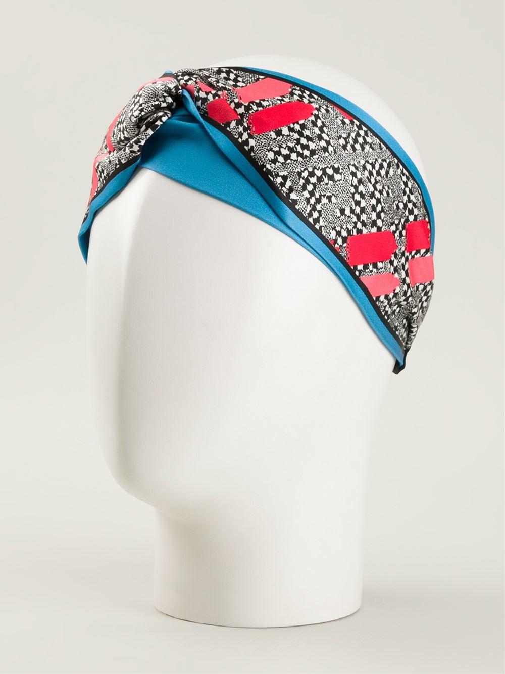 Fendi Geometric Print Headband In Blue Lyst