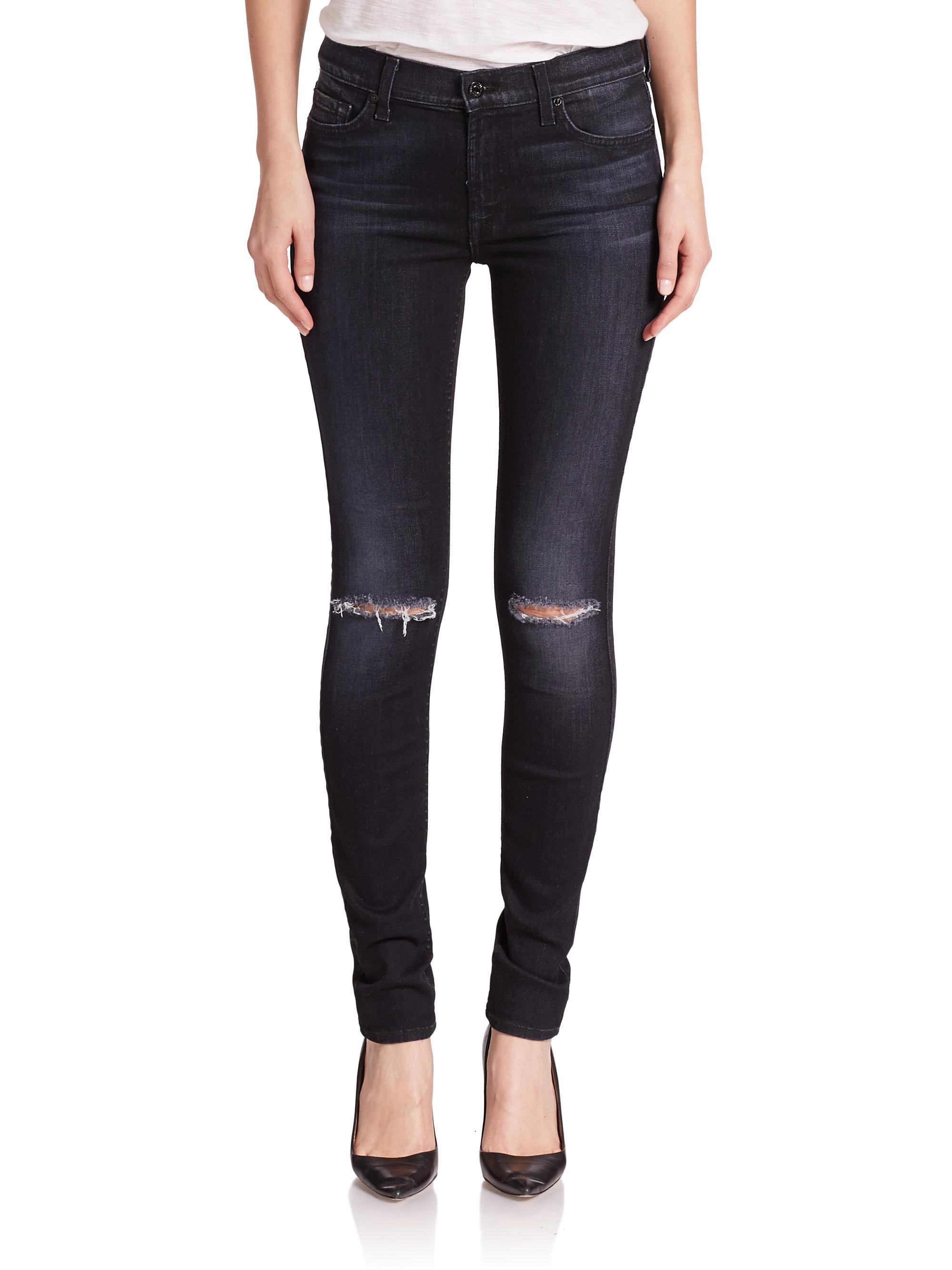 Negro para 7 ajustados desgastados Jeans la humanidad toda v7cOEqWAB