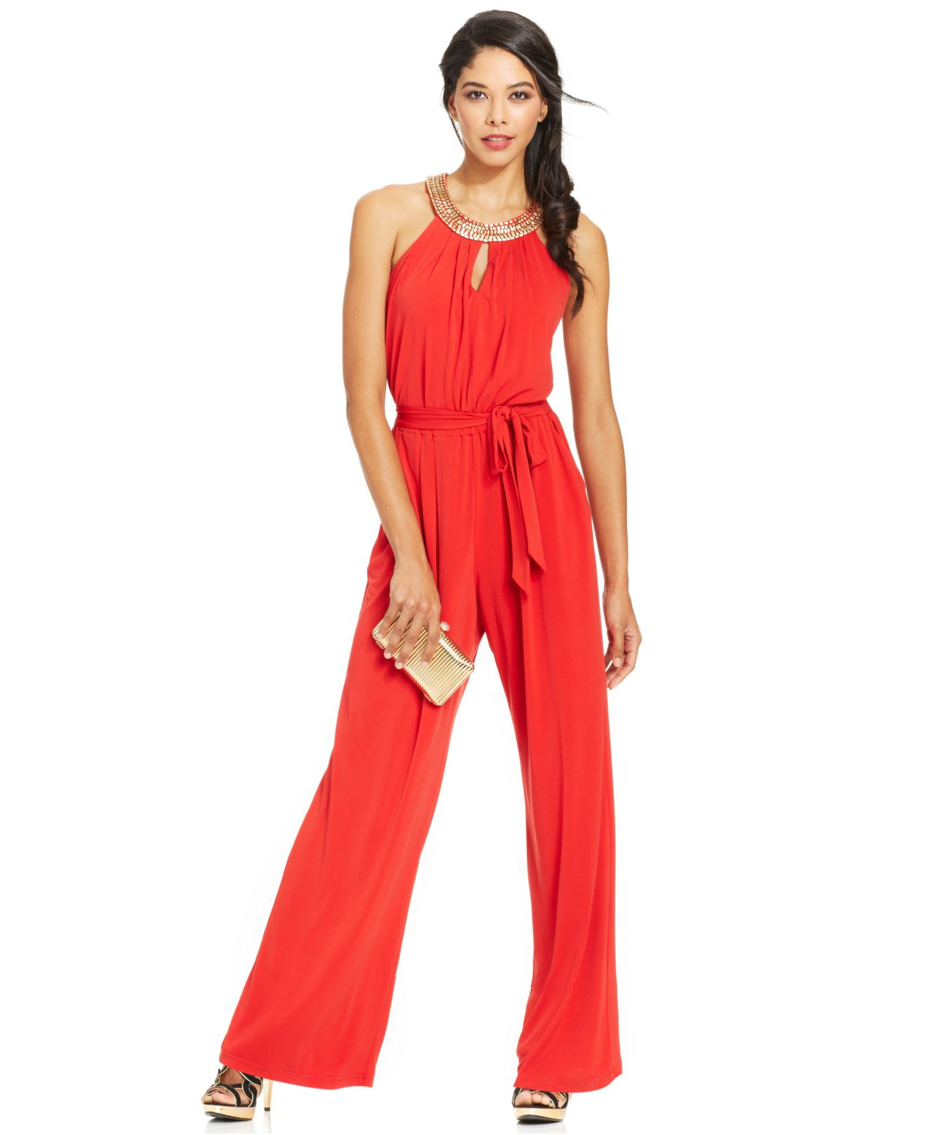 1d3f1da1bc Lyst - Vince Camuto Sleeveless Bead-trim Blouson Jumpsuit in Red