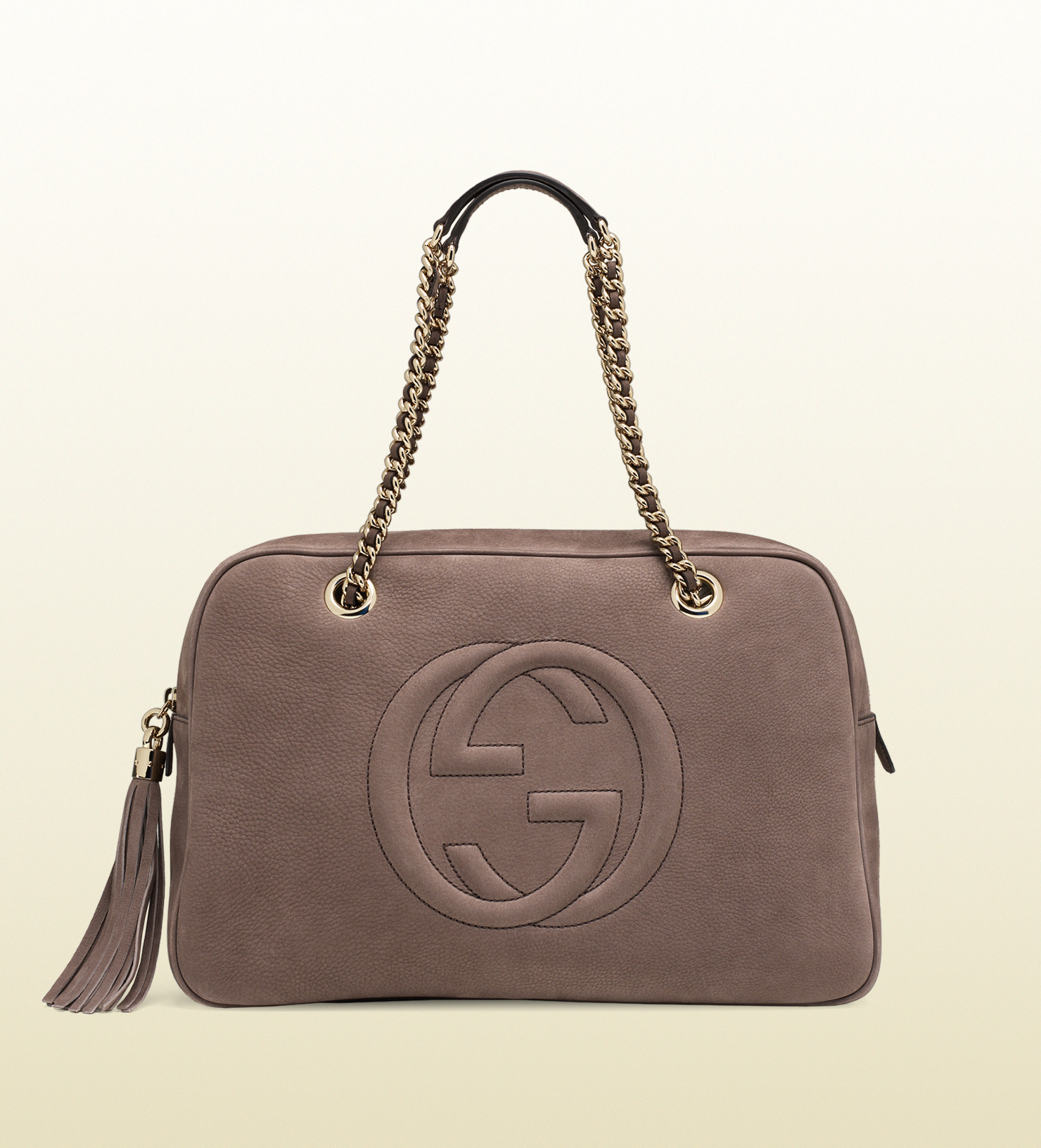 gucci soho nubuck leather chain shoulder bag in gray lyst. Black Bedroom Furniture Sets. Home Design Ideas