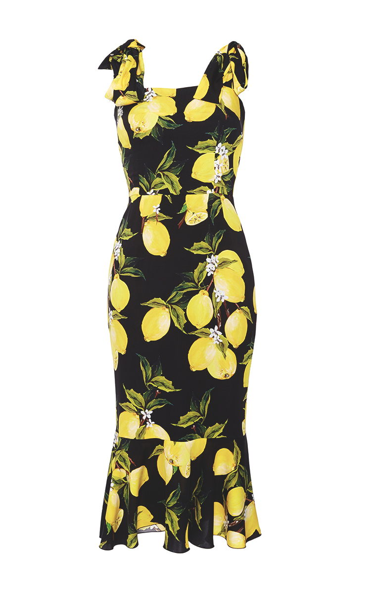f9707980209 Dolce   Gabbana Silk Fitted Dress With Lemon Print - Lyst