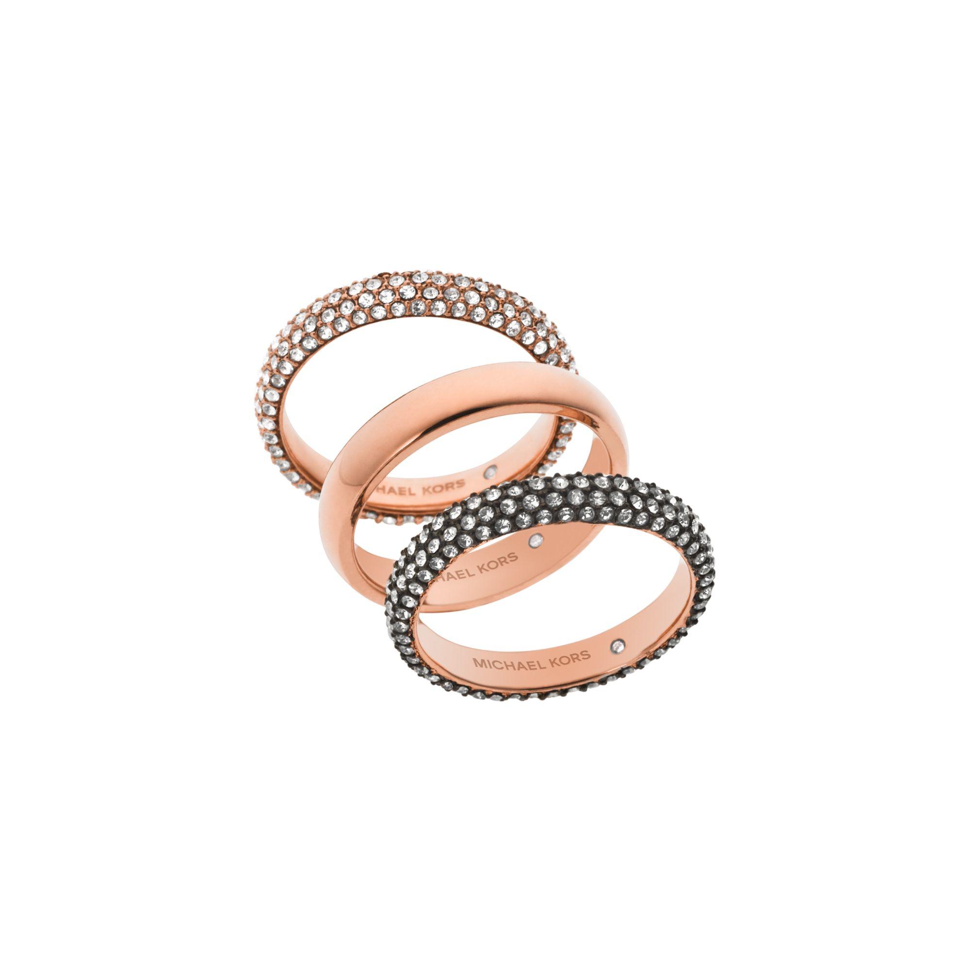 michael kors pav rose gold tone ring stack in pink lyst. Black Bedroom Furniture Sets. Home Design Ideas