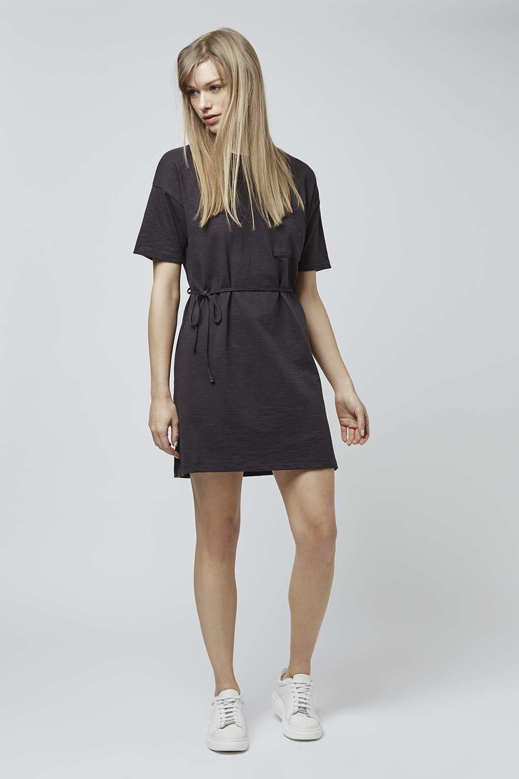 topshop belted dress in gray lyst