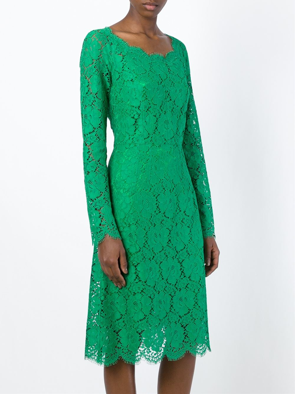 Lyst Dolce Amp Gabbana Floral Lace Dress In Green