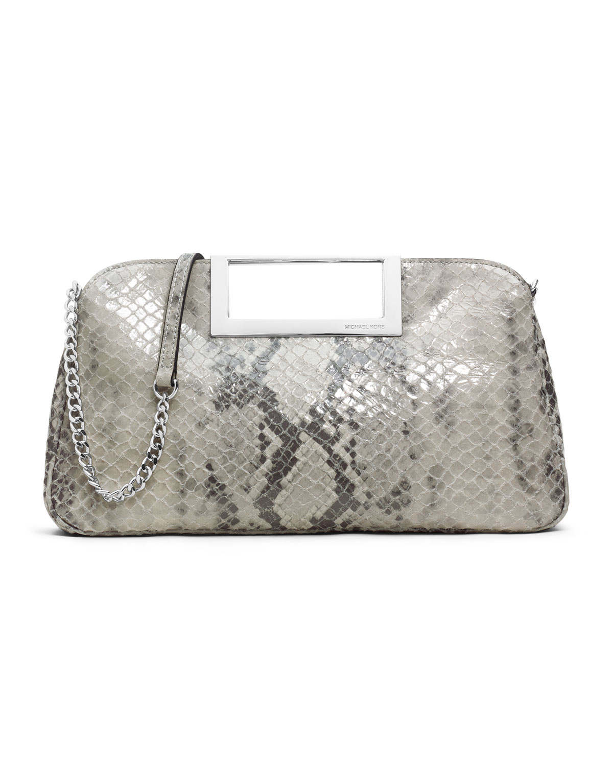 michael kors michael large berkley clutch in gray pearl. Black Bedroom Furniture Sets. Home Design Ideas