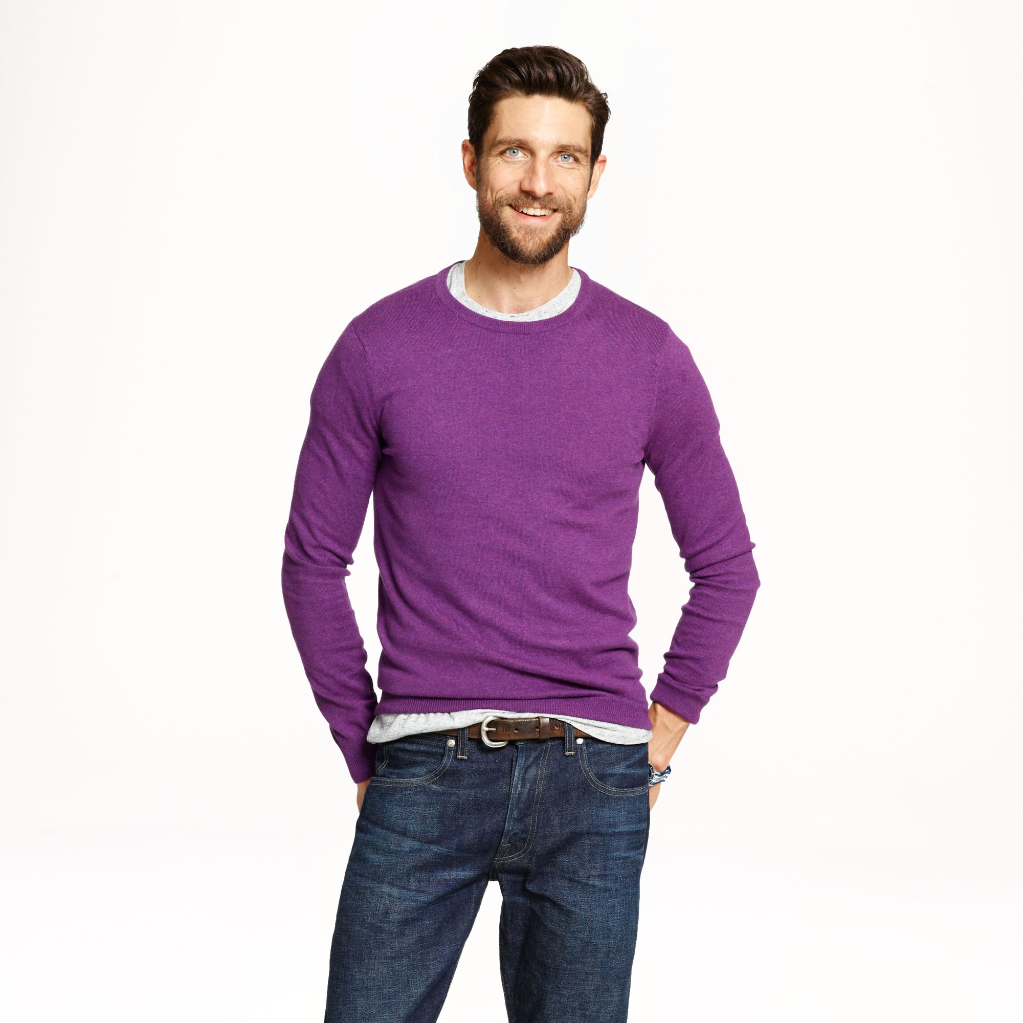 J.crew Slim Cottoncashmere Crewneck Sweater in Purple for Men | Lyst