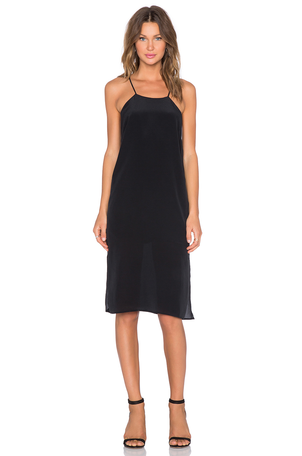Anine bing Silk Dress With Thin Straps in Black | Lyst