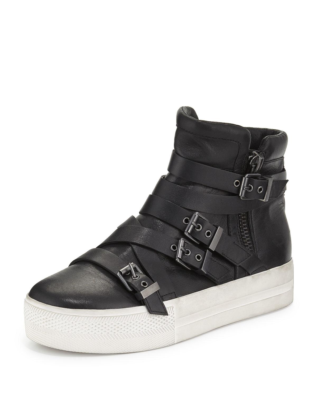 ash jet leather high top sneaker in black jet lyst. Black Bedroom Furniture Sets. Home Design Ideas