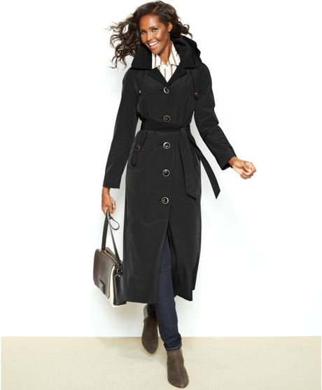 London Fog Belted Trench Coat in Black
