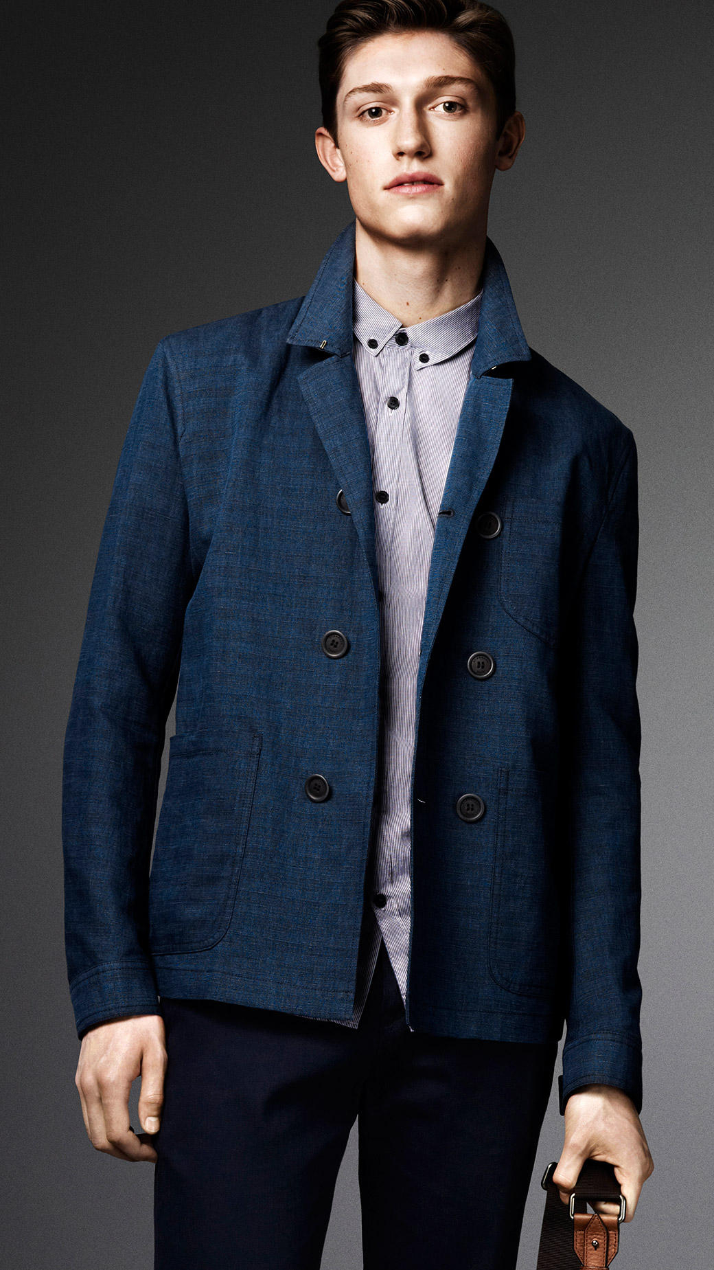 Burberry Linen Cotton Shirt Jacket in Blue for Men | Lyst