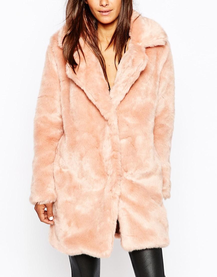 94f338422586 Missguided Faux Fur Longline Coat in Pink - Lyst
