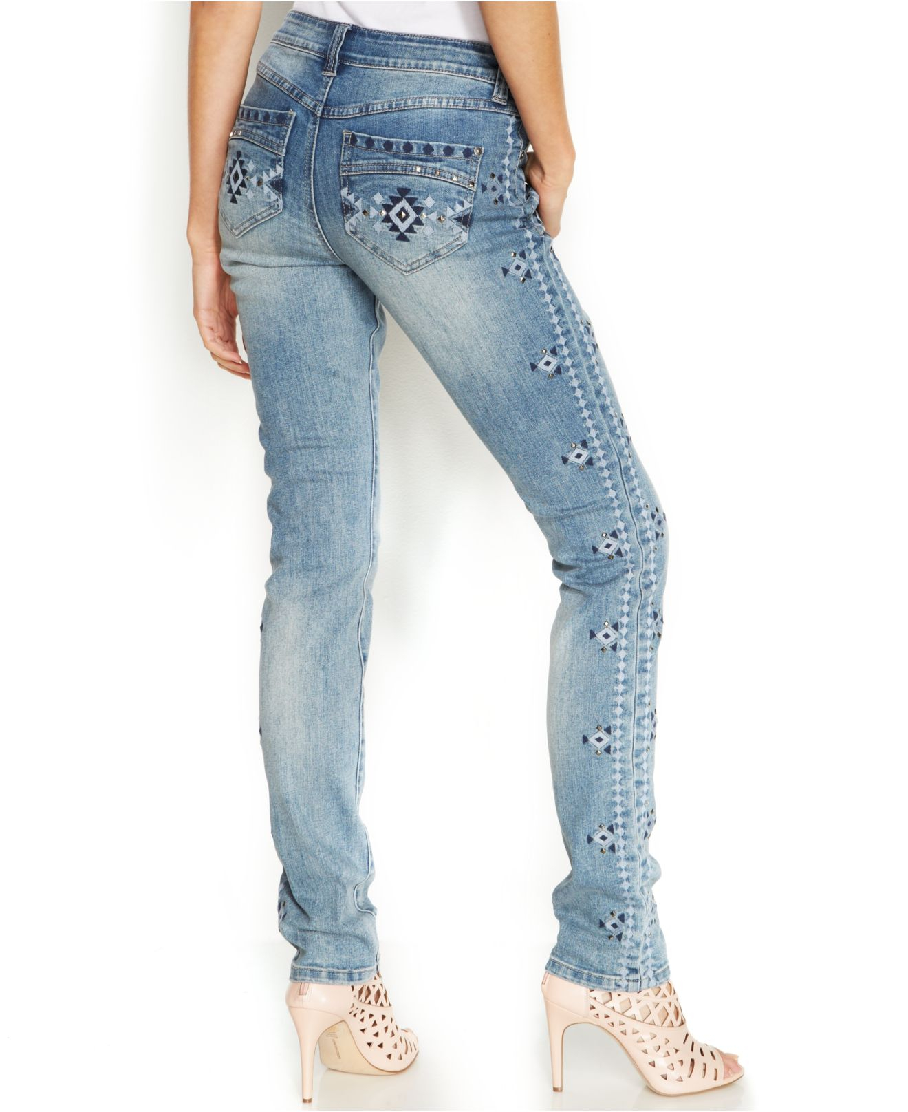 Inc international concepts Petite Embroidered Studded Skinny Jeans ...