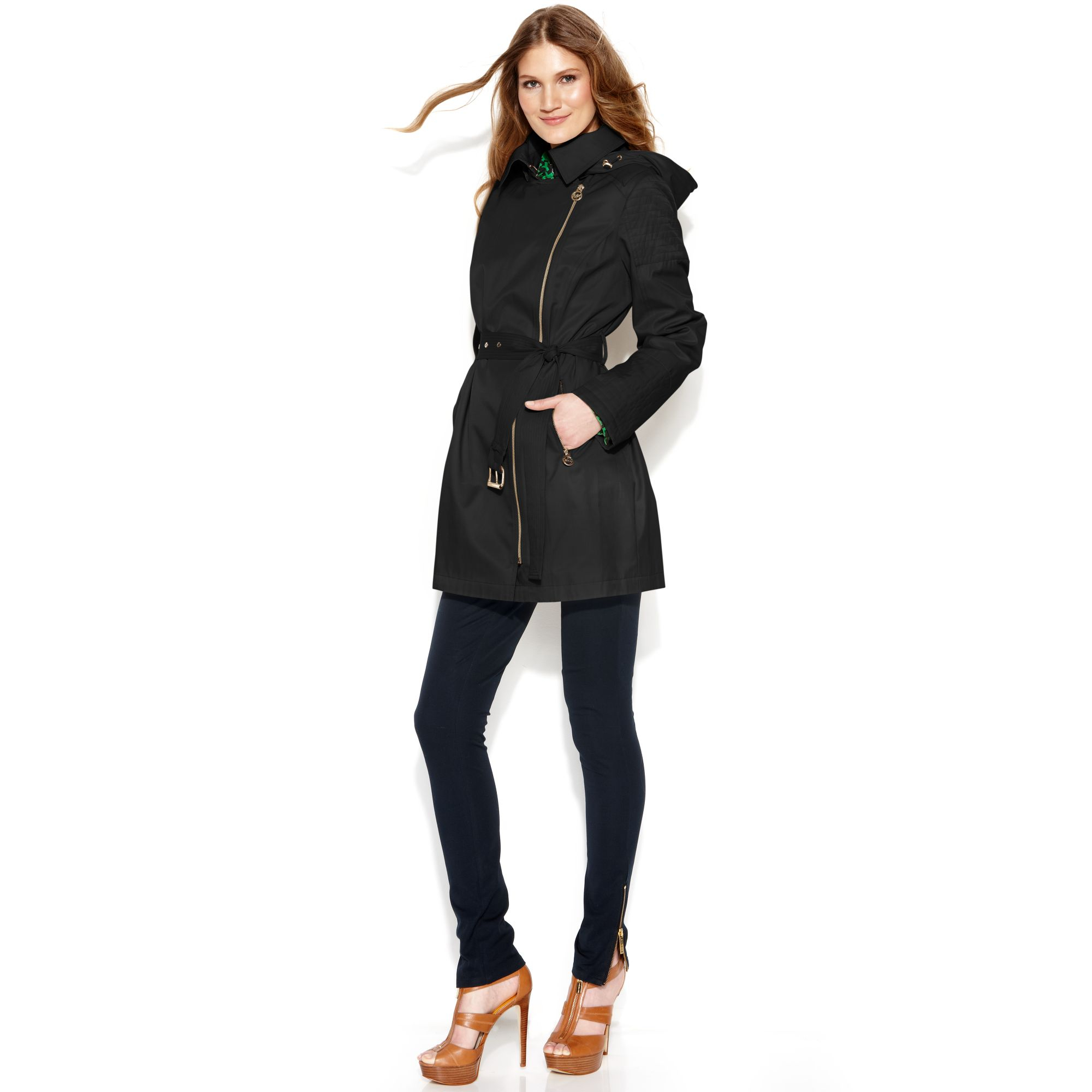 188deaf60b99 Lyst - Michael Kors Michael Asymmetrical Hooded Belted Trench Coat ...