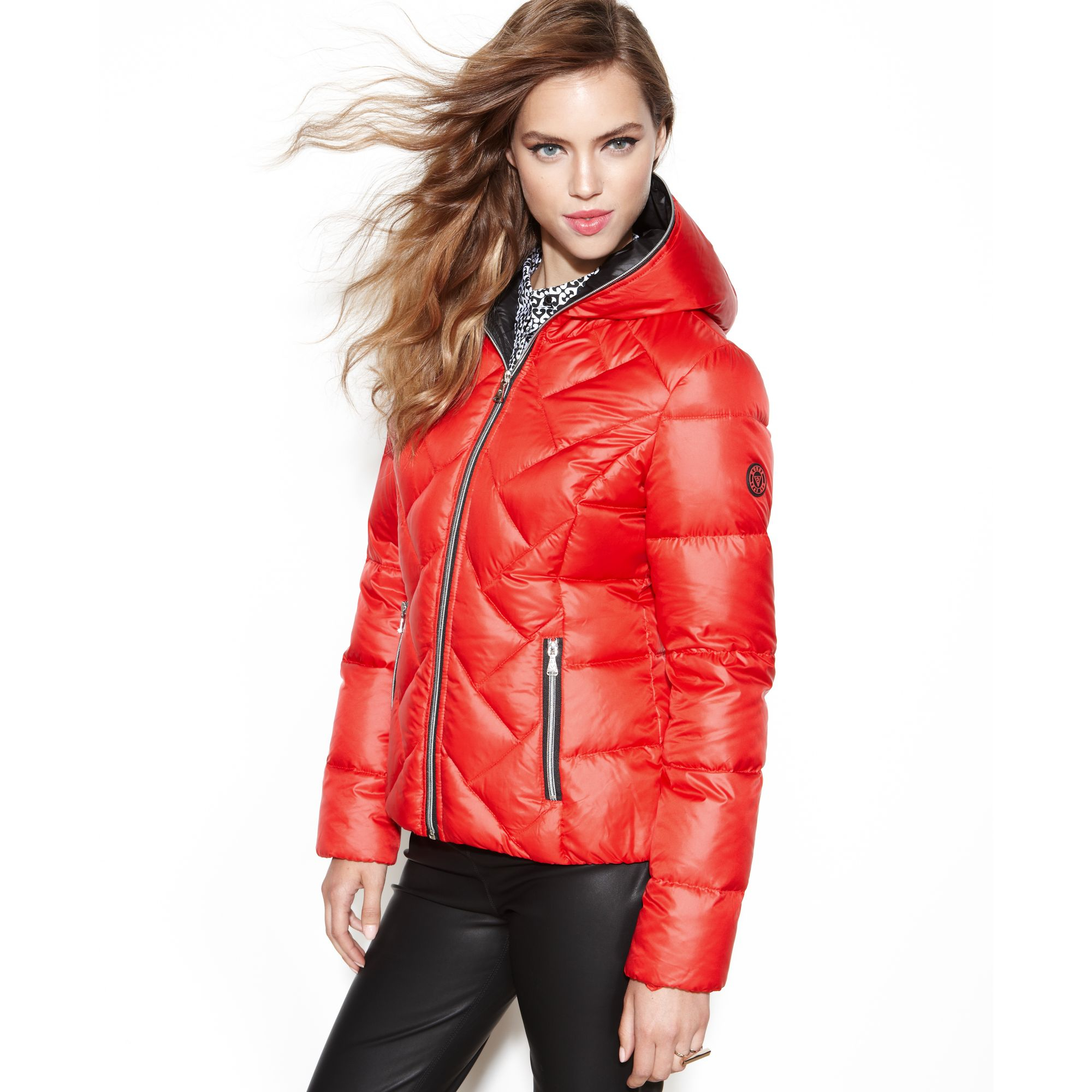 Guess Coat Hooded Quilted Puffer In Orange Lyst
