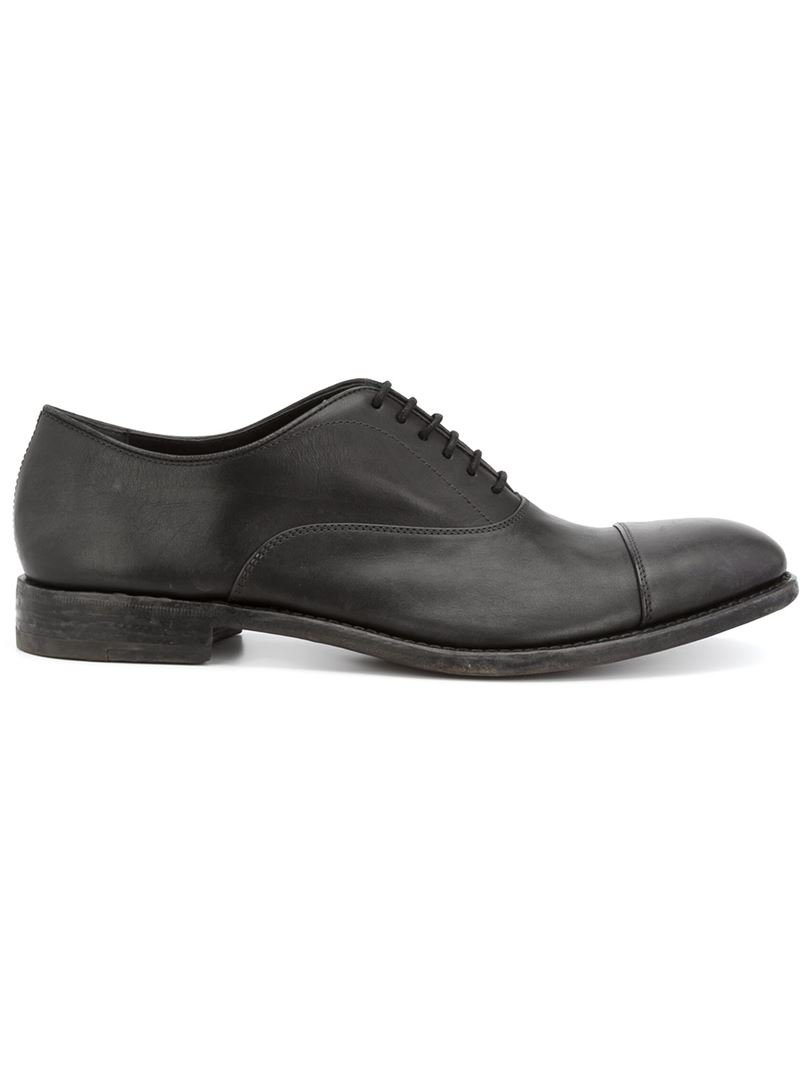 henderson stacked heel oxford shoes in black for lyst