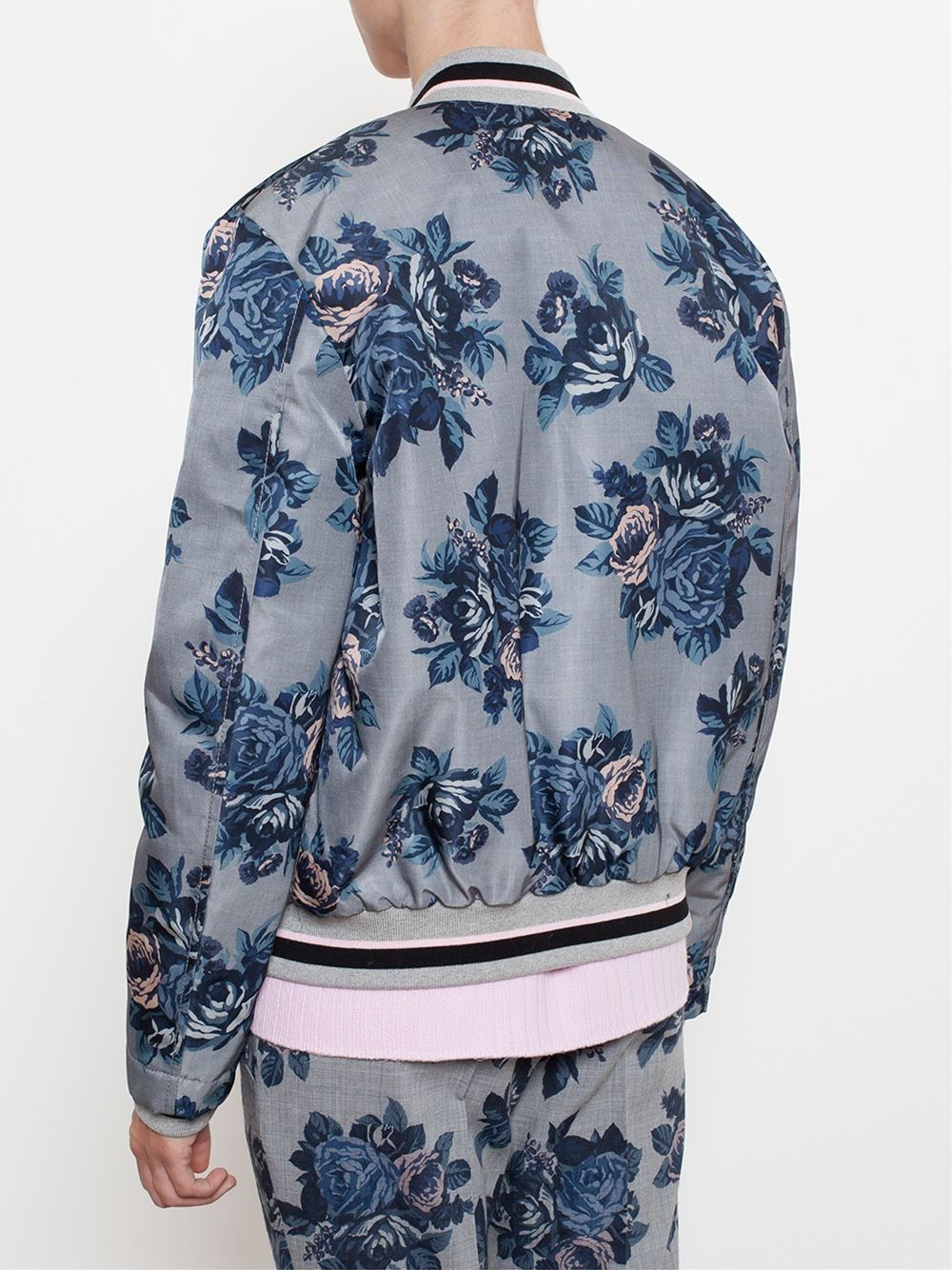 msgm floral print bomber jacket in gray lyst