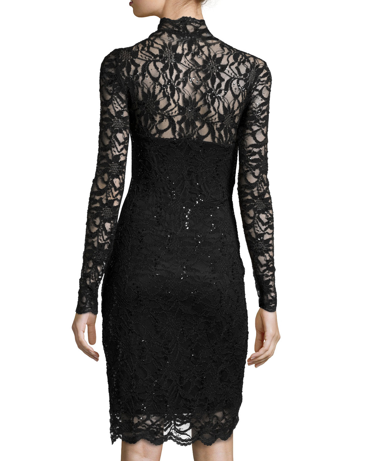 Marina Long Sleeve V Neck Lace Cocktail Dress In Black Lyst