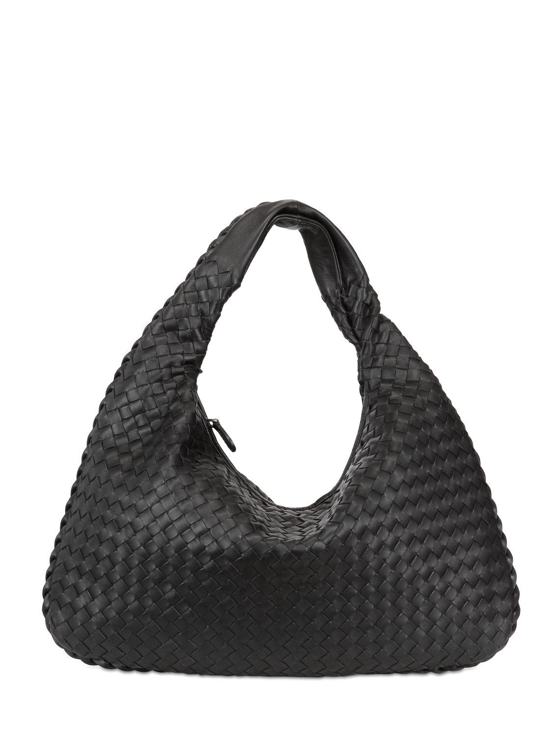 Lyst - Bottega Veneta Medium Veneta Intrecciato Leather Bag in Black b0efd014493f2