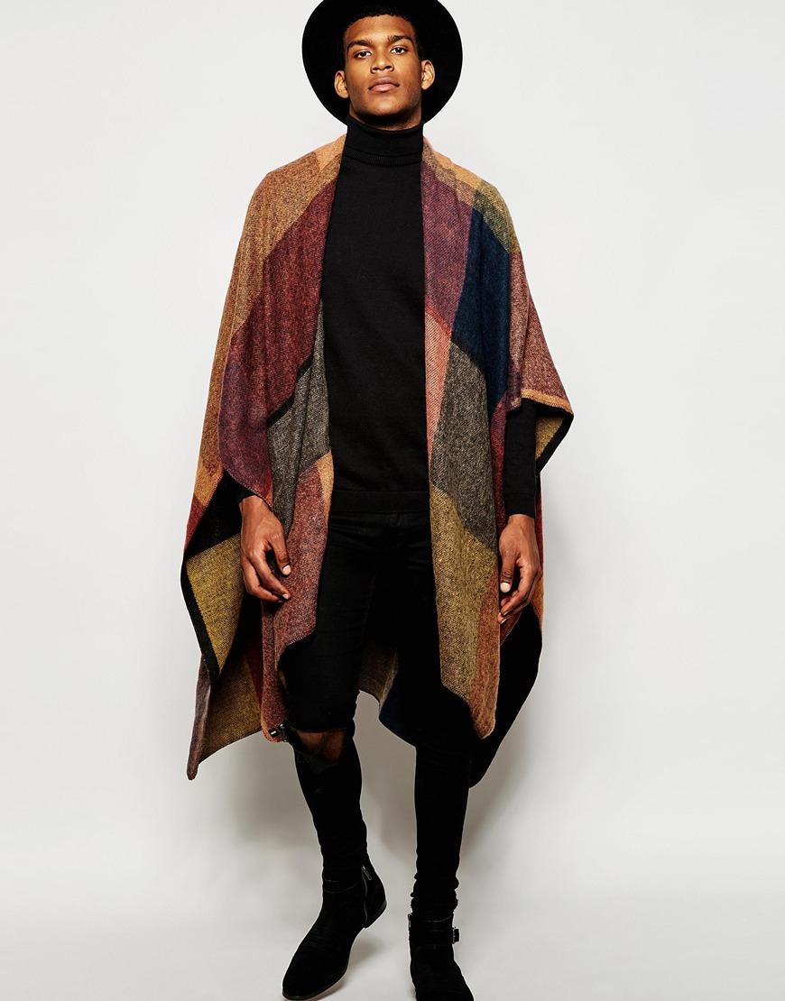 Lyst Asos Colour Block Cape In Brown For Men