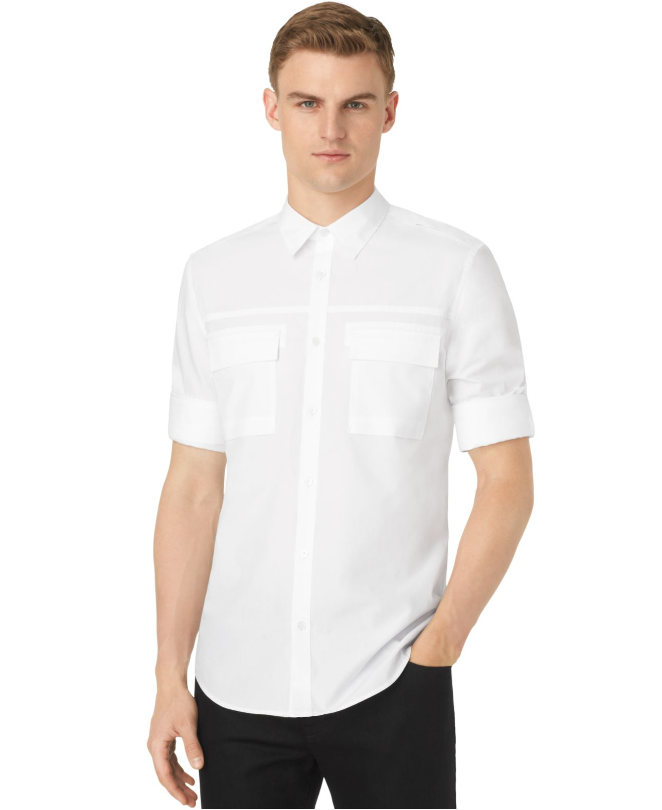 Lyst calvin klein roll tab sleeve slim fit shirt in for Men s roll tab sleeve shirts