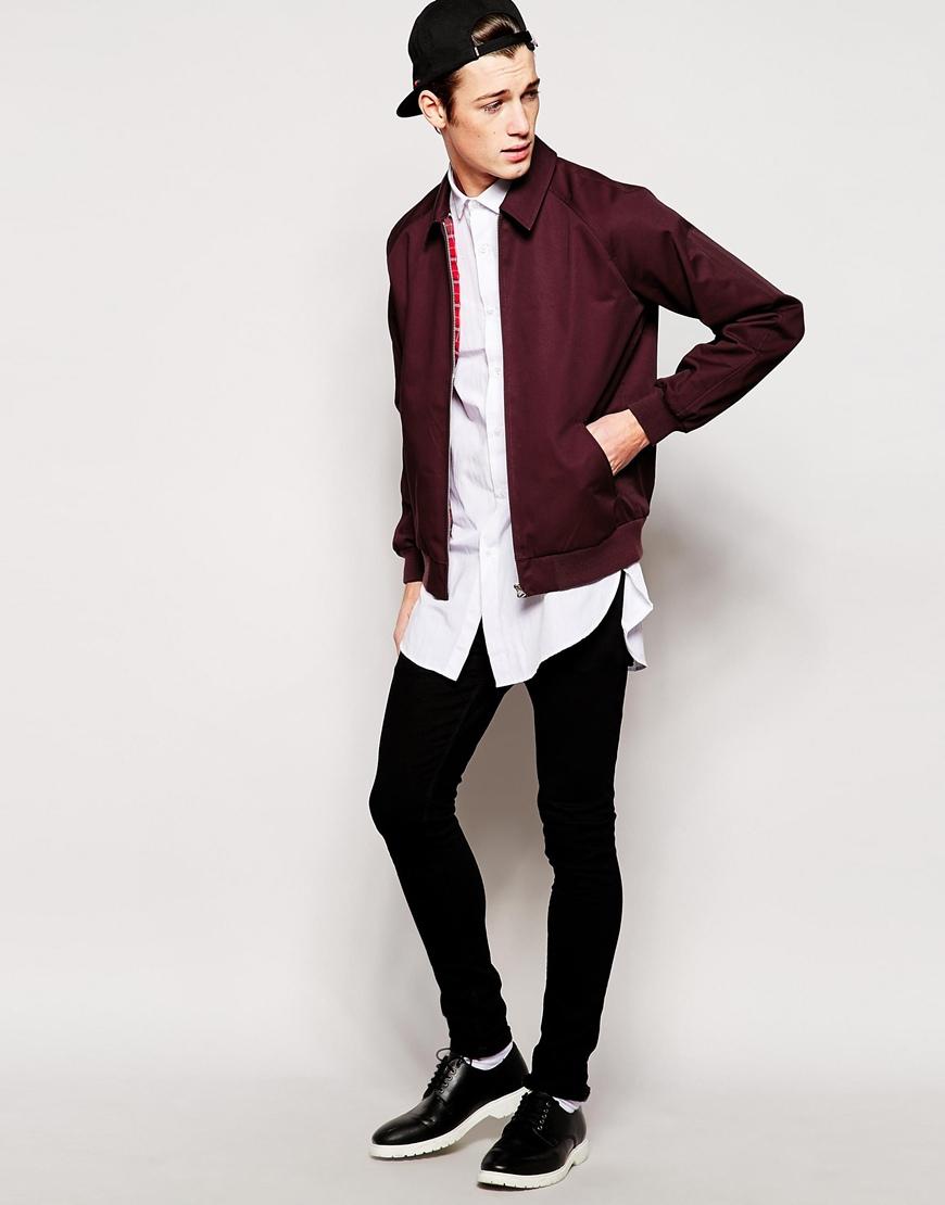 Asos harrington jacket in burgundy purple for men lyst