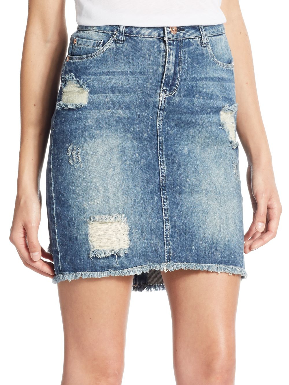 Kensie Distressed Denim Mini Skirt in Blue | Lyst
