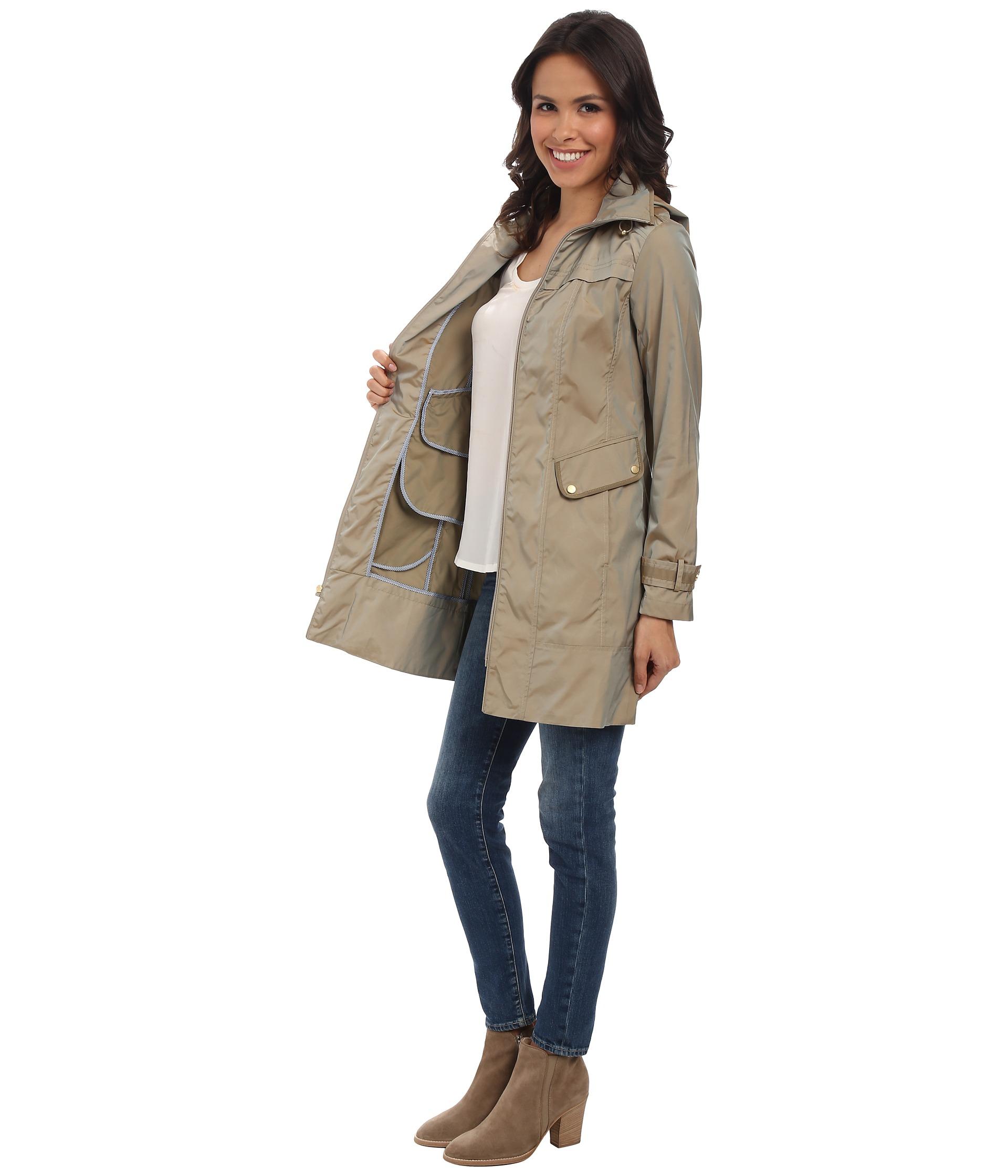 Womens Black Zip Raincoat With Hood