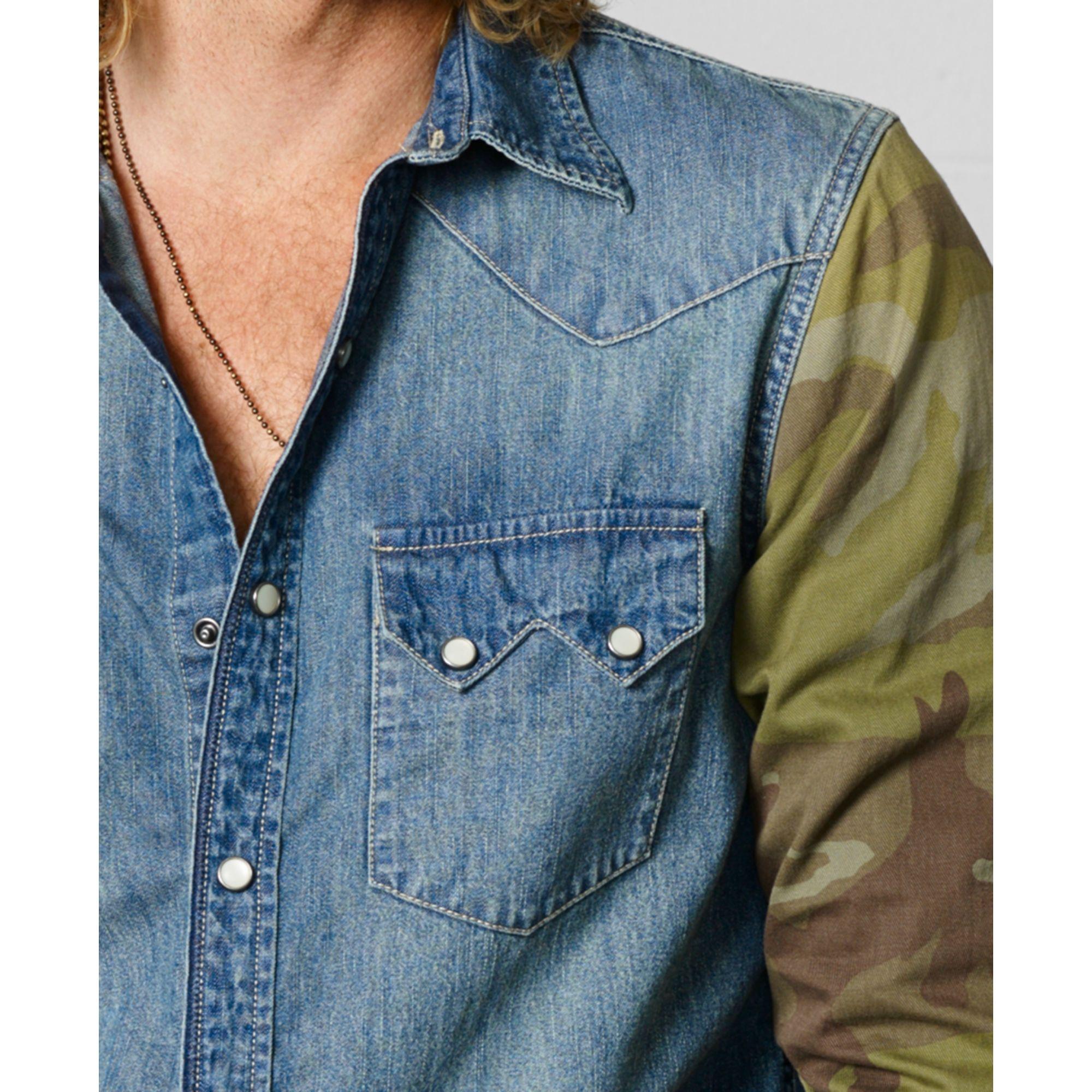 04b356a77b9 ... Lyst Denim   Supply Ralph Lauren Camosleeve Western Shirt in Blue