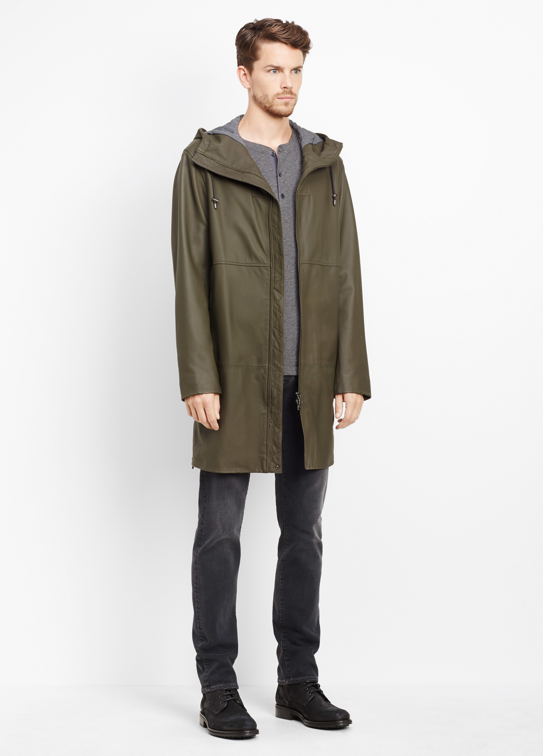 Vince Leather Parka in Green for Men | Lyst