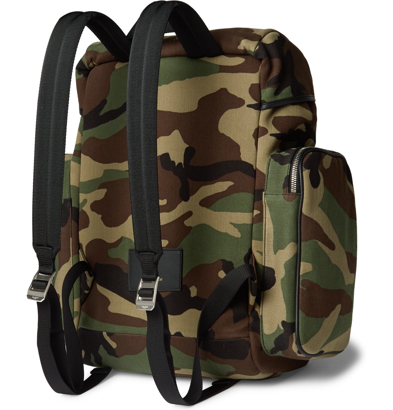 70bf9eb872 Saint Laurent Leather-trimmed Camouflage-print Canvas Backpack in ...