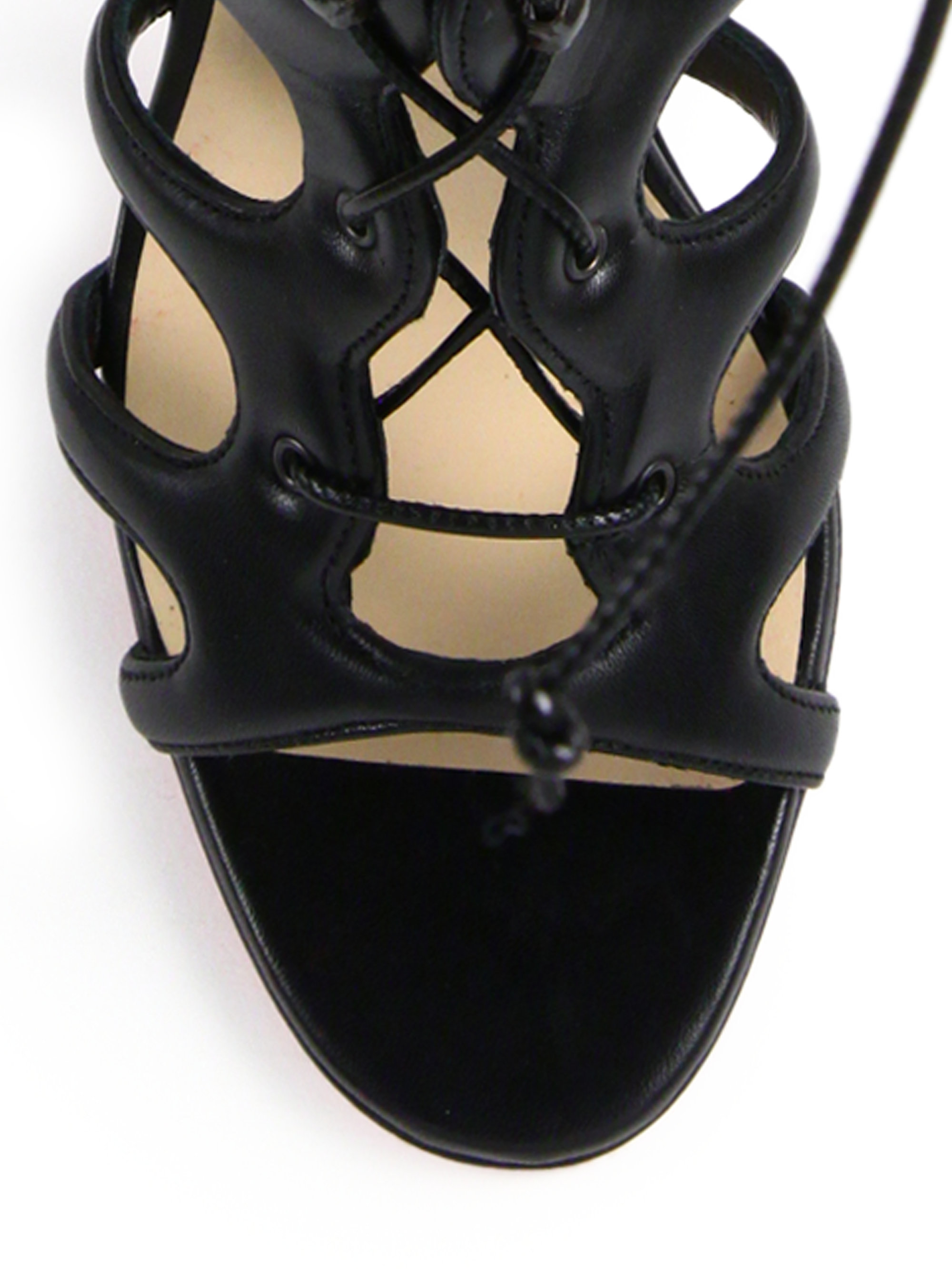 Christian louboutin Amazoulo Leather Lace-up Sandals in Black | Lyst